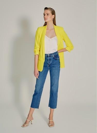 NGSTYLE Kolu Büzgülü Ceket Sarı